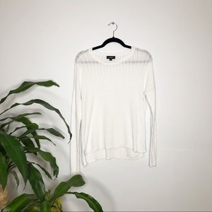 Lord + Taylor┃White Knitted Long Sleeve Sweater